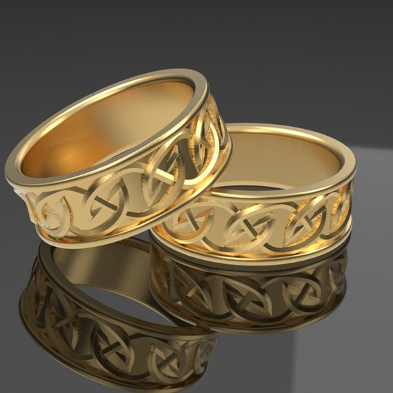 Celtic Wedding Ring Set with Interwoven Tribal Knotwork Design Made in 10K 14K 18K Gold or Palladium, Made in Your Size Cr-516