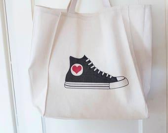 Black High-Top Sneaker Tote Bag, Heavy Book Bag, Hitop School bag, Cute Black Converse Sneaker Wedding Bag