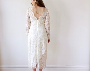 Vintage Tea Length Lace Wedding Dress - Ivory Off-White Long Sleeve 80s Wedding Dress - M Tall