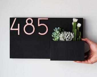House Number Planter, Address Planter, Address Plaque Modern, Address Plaque with Planter, Address Planter Box