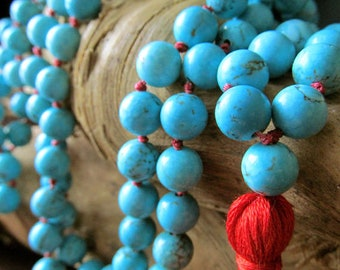 Turquoise Mala Beads, 108 Bead Mala Necklace, Prayer Beads, Yoga Jewelry, Meditation, Beaded Tassel Necklace, Handmade Japa Mala, Blue Mala