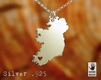 IRELAND Map Handmade Personalized Sterling Silver .925 Necklace in a gift box