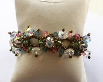 Colourful Swarovski crystal handmade bracelet 17.5cm long Bohemian/Vintage style