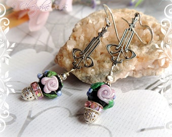 Bohemian Gypsy EBONY BLACK Rose Garden Art Deco Lampwork Earrings