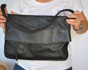 Vintage OVERSIZE LEATHER CLUTCH , women's leather bag.....(465)
