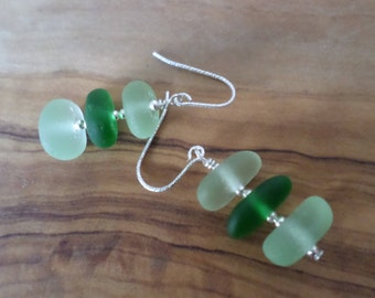 Green Stacked Sea Glass Sterling Silver Earrings, Seaglass Earrings, Beachglass Earrings, Sea Glass Earrings, Stack, Green