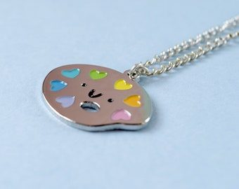 Paint Palette Necklace | dainty necklace - jewellery - jewelry - gift for her - gift for crafter - gift for artist - gold necklace - enamel