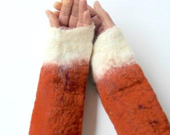 Fox cuffs, hand felted animal cuffs in rust red and burnt orange