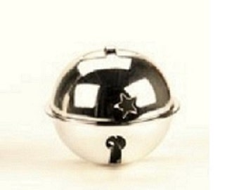 Jingle Bell - Silver with Star Cutouts - 2.75 inches