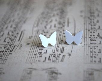 Butterfly Earrings -- Butterfly Studs, Tiny Butterfly Earrings, White Butterfly, Kids Earrings