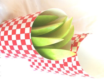 10 RED CHECKERBOARD food scoop-3oz-french fries-fruit-packaging and gift packaging