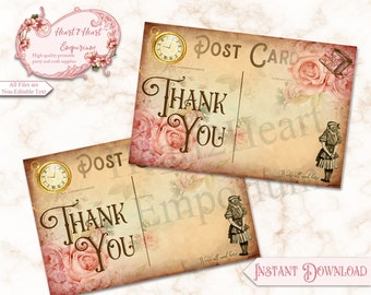 Alice in Wonderland Postcard Thank You Card, Alice Birthday, Alice Postcards, Wonderland Tea Party, Printable Thank You Cards, Notecards