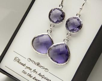 Purple Earrings, Amethyst, Tanzanite, Drop, Glass, Wedding Jewelry, Long, Bridesmaid Earrings, Bridesmaid Jewelry, Dangle, Bridesmaid Gifts