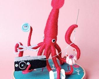 Print: Mr. Pink Squid, A Very Handy Crafter, Single - Digital Plush Art Photograph Craft sewing Needlefelting toy walldecor HineMizushima