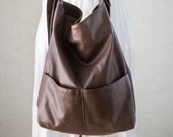 Brown Crossbody Bag, Vegan Womens Bag, Brown Faux Leather Purse, Vegan Crossbody Bag, Cruelty Free Handbags, Boho Handbags, Oversize Purse