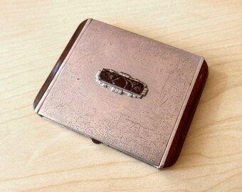 SALE - Amazing French Vintage 1930's 1940's  Art Deco Compact Powder, Silver Metal and Carved Wood