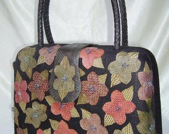 TIMMY WOODS box-shape handbag woven straw & snakeskin