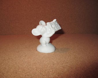 on sale SIGNED 1975 HALLMARK Fine Bisque Porcelain White Mouse Figurine Holding a Swiss Cheese Present - Rare Find -