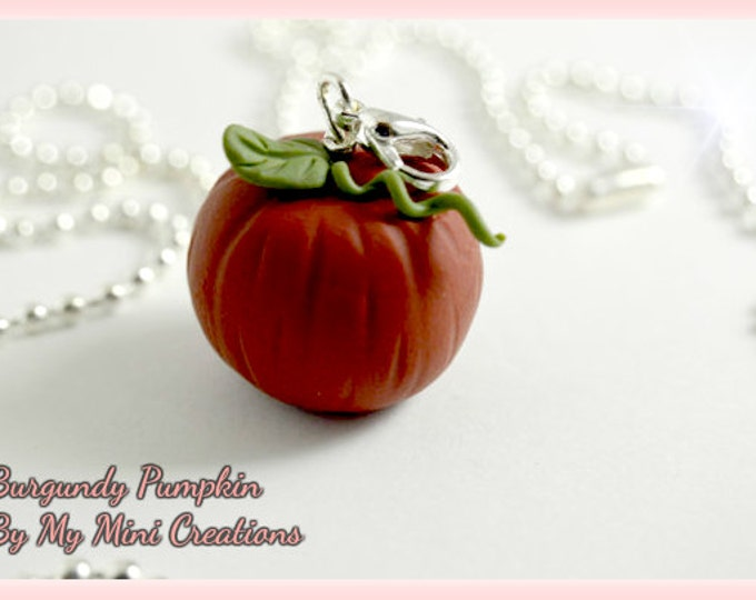 Burgundy Pumpkin Necklace, Miniature Food, Miniature Food Jewelry, Food Jewelry