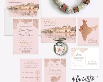 Destination wedding invitation Udaipur Rajasthan India Asia Indian Wedding Rose Gold Copper illustrated wedding invitation Deposit Payment
