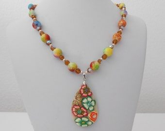 70'S hippie flower power necklace