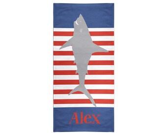 Shark Stripes Personalized Beach Towel