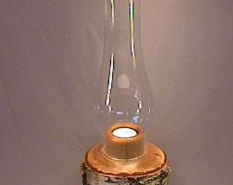 Unique, handmade, natural Birch wood candle holder with glass chimney and tealight