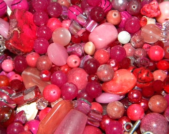 NEW 16/oz Pink's Mixed Loose lot of Beads Random sizes 6-20mm Glass, Shell, lampwork, gemstone