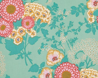 Joel Dewberry Fabric, BOLD BOUQUET, Teal Fabric, Botanique, Free Spirit Fabric, By the Yard, Floral Fabric, Aqua, Cotton Quilt Fabric