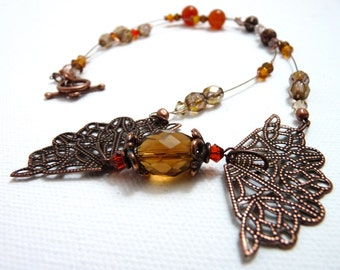 2 Fans amber and copper necklace