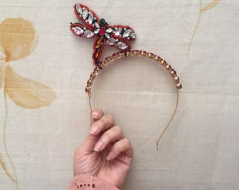 Jewel dragon fly headband for wedding or races millinery