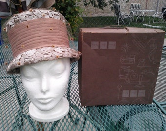 Vintage 1960s Mocha Colored Hat with Carson Pirie Scott Hat Box.