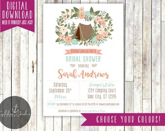 Glamping Bridal Shower Invitation - Bachelorette Party Invitation - Printable DIY