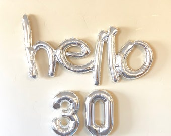Hello 30 Decoration, Silver Balloons, 30TH Birthday Banner Balloons, birthday party decoration, Party, thirtieth