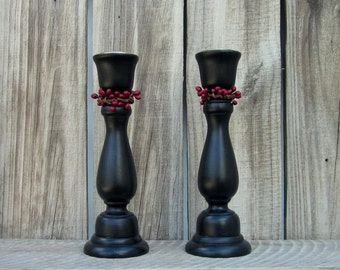 Black Taper Holders, Pair, Glossy, Candle Sticks, Red Pip Berries, Painted Wood, Set of Two, Primitive, Rustic, Country Chic