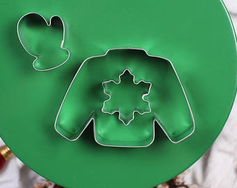 Christmas Cookie Cutter, Ugly Sweater Cookie Cutter Set, Christmas Sweater Cookie Cutter, Cookie Swap, Mini Cookie Cutters