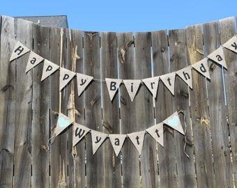 Personalized Happy Birthday Burlap Bunting Banner- Custom Burlap Banner- Party Decor- Photo Prop- Birthday Garland- Birthday Decorations