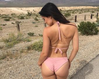 Blush pink scrunch bikini bottom