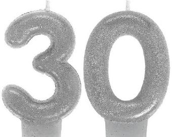 30th Milestone Candles Birthday Silver Glitter Candles Sparkling Party Decorations Supplies
