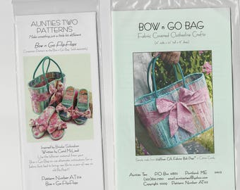 Bow n Go patterns by Aunties Two, 2 pattern set Bag and Flip-Flops.  Jelly Roll friendly.