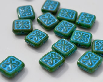 Ornamental Green and Blue Rectangle Beads  6