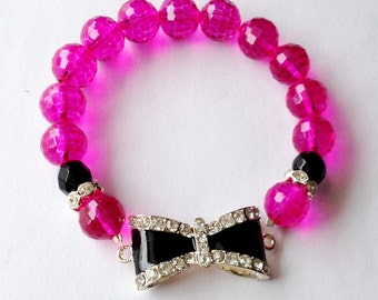 Pink and Black Bow Bracelet