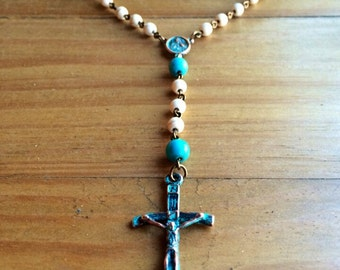 Rosary, handmade with white, turquoise dyed beads and tibetan copper crucifix and station with patina for vintage look