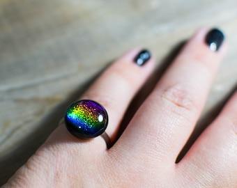 Fused Dichroic Glass Rainbow Ring