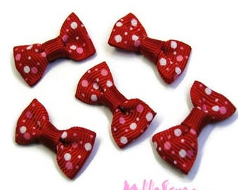 Set of 5 bow red, pink, white embellishments scrapbooking card making *.