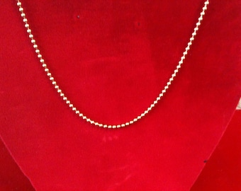 """10 K Yellow Gold Beads Chain with 164 Beads. 22"""" Long. 10.7 gm. Free Shipping."""