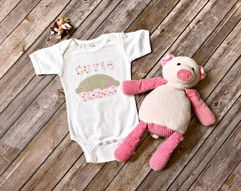 READY TO SHIP Cutie Pie Onesie, baby girl onesie, sweet, birthday new baby baby shower gift little girl pink polka dot