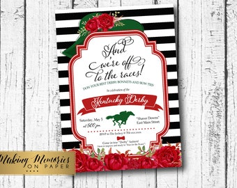 Kentucky Derby Party Invitation, Run for the Roses Invitation, Horse Race Invitations, Derby Hat, We are off, red and green, red roses