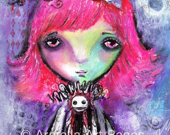 Pinky Original mixed media Painting Primitive Portrait