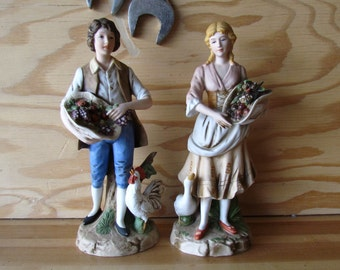 Boy and Girl Figurines with fall harvest, Thanksgiving figurines, farmer figurines